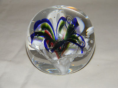 Vintage Murano Art Glass Paperweight Portugal Floral Flower  Clear Round Pretty
