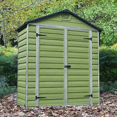 Plastic Garden Shed 6x3 Outdoor Storage Building Store Apex Windowless 6ft 3ft
