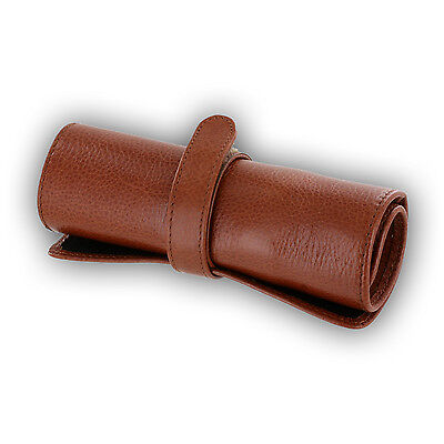 Aston New York Genuine Leather 5-Pen Roll Up Case Sleeve, Tan (ASTROLLUP-TAN)