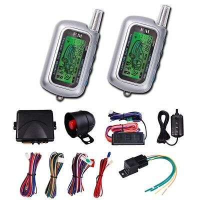 2 Way LCD Car Alarm Remote Control Auto Vehicle Engine Start Security System Kit