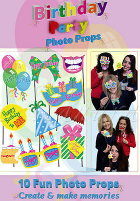 10 PC Birthday Party Fun Photo Booth Props Selfie Party Props 29448