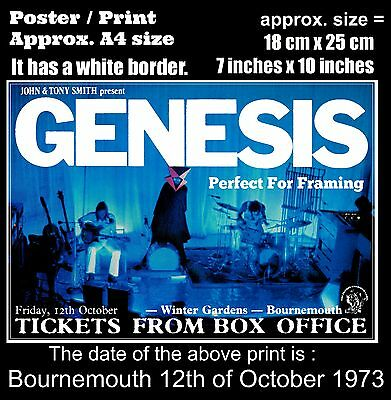 Genesis live concert at Bournemouth 12th of October 1973 A4 size poster print
