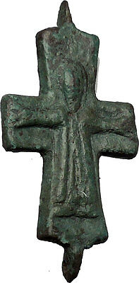 Bronze Ancient Christian Byzantine Cross Artifact circa 1000-1100AD i51433