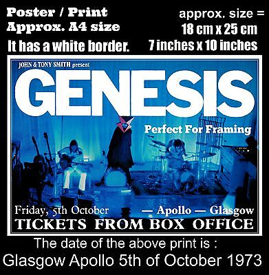 Genesis live concert at Glasgow Apollo 5th of October 1973 A4 size poster print