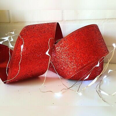 Wired Red Glitter Christmas Ribbon. Gift Bow, Cake Wrap, Tree Decoration, Wreath