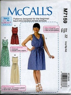 MCCALL'S 7159 LEARN to Sew Ladies Easy Loose Pullover Dress Sewing Pattern  NEW