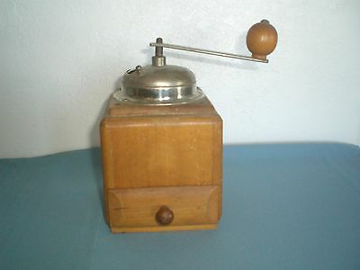 Antique Primitive Wooden Coffee Grinder with Drawer rustic