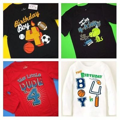 NEW 4th BIRTHDAY 4 Years Baby Boys Sports Ball Dino DUDE Shirts 4T 5T