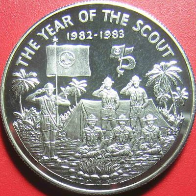 1983 Liberia $20 Silver Proof Year Of The Scout Emblem Scouts Saluting At Camp