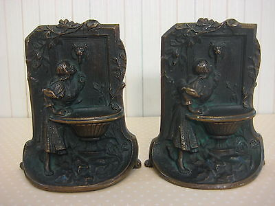 """Vintage Solid Bronze Art Deco Bookends, Fugural Girl At The Well Statue, 5 1/4"""""""