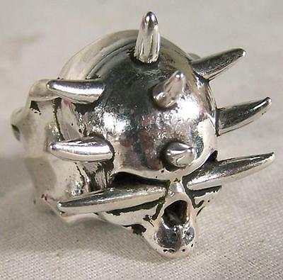DELUXE SPIKES IN HEAD SKULL BIKERS RING #265 Fashion mens womens unisex GOTHIC
