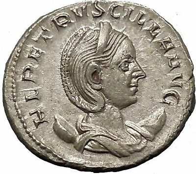 Herennia Etruscilla Hostilian mom Silver Ancient  Roman Coin Modesty Cult i52034