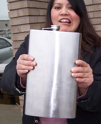 MONSTER SIZE HALF GALLON STAINLESS DRINKING FLASK hip large drink liquor holder