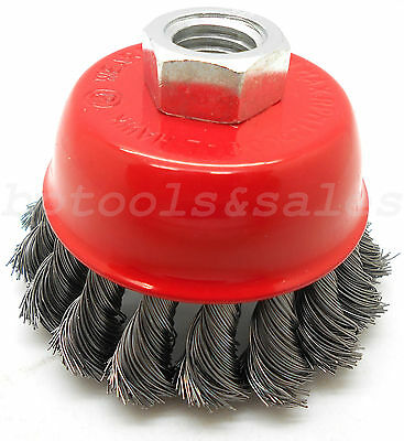"3"" Knot Type Fine Wire Cup Brush Wheel 5/8"" Arbor fits 4-1/2"" Angle Grinder NEW"