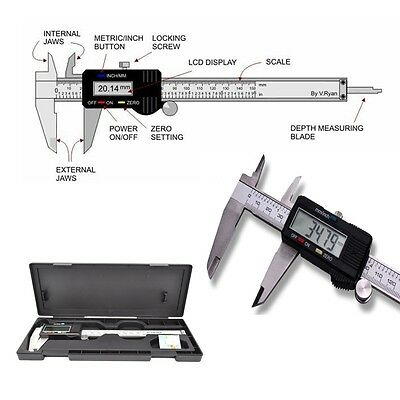 "Digital Electronic Gauge Stainless Steel Vernier 150mm 6"" Caliper Micrometer *"
