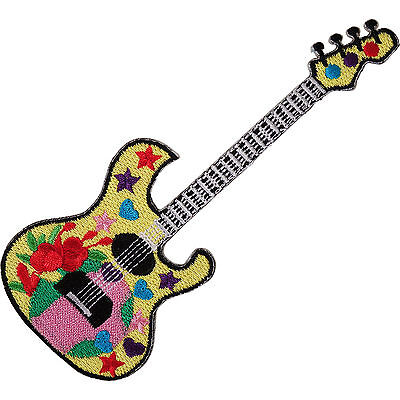Yellow Electric Guitar Embroidered Iron / Sew On Patch Rock Music Hat Bag Badge