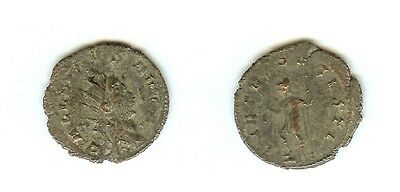 GALLIENUS 253-268  AD. SILVERED AE ANTONINIANUS WITH Mars