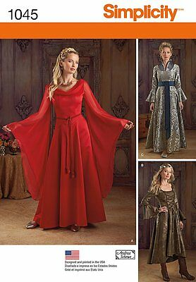 SIMPLICITY 1045 Misses Game of Thrones or Fantasy Gowns Costume Sewing Pattern