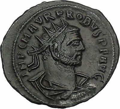 Probus  receiving globe from Jupiter 276AD Tripolis Ancient  Roman Coin i52080
