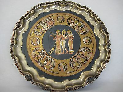 """Rare Vintage Egyptian Copper Brass Inlay Metal Wall Hanging Tray, 14 1/2"""" Dia"""