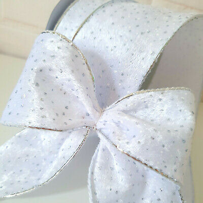 Wired Merry Christmas & Stars Ribbon. White, Silver Glitter. Bow, Cake Wrap Tree