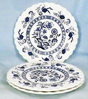 3 Blue Nordic Bread & Butter Plates J & G Meakin English Ironstone Onion Vintage
