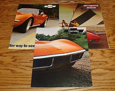 1971 1972 1973 Chevrolet Corvette Facts Features Sales Sheet Brochure Lot of 3