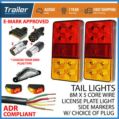 Led Trailer Lights Kit 7 Pin Plug, Number Plate Light, 5 Core Wire, Side Markers