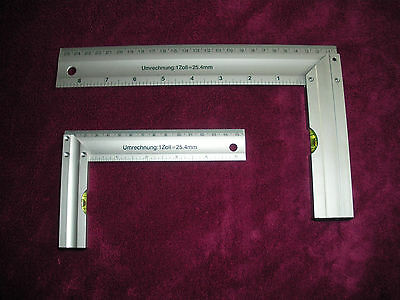 2 Piece Aluminum Square Set Right Angle Ruler Guide With Spirit Level
