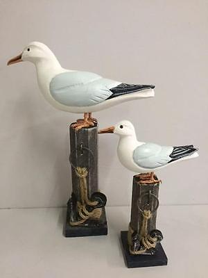 NEW WOODEN SEAGULL ON POST Choice of 2 - 24cm or 37cm - Nautical Coastal Home
