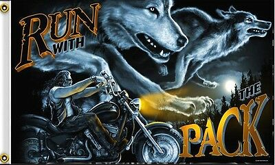 Biker Flag Run With The Pack Wolf Motorcycle 3 X 5 Flag