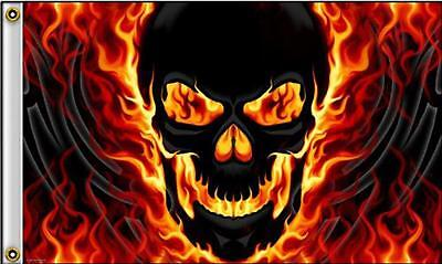 RED YELLOW FLAME SKULL DELUXE 3X5 FLAG FL450 skeleton head biker skulls new 5x3