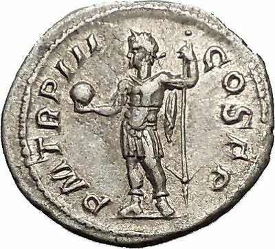 SEVERUS ALEXANDER with globe and spear Silver Ancient Roman Coin i52122