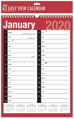2019 Wall Calendar Large Easy Month to View Work Planner Red Black Spiral A3LMTV