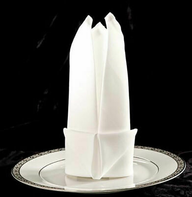 BULK LOT 12x COMMERCIAL TABLE NAPKINS TABLE CLOTH WHITE 50x50CM DINNER WEDDING..