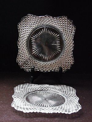 """2 Vintage Clear Westmoreland Square Plates 7 1/2"""" English Hobnail"""