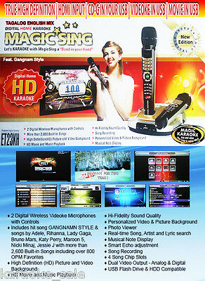EnterTech Magic Sing Karaoke ET23KH 2 Wireless mic 5145 TAGALOG ENGLISH SONGS