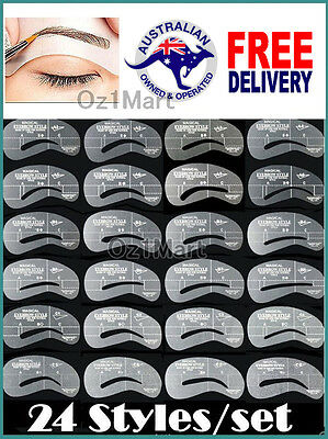 24 STYLES Eyebrow Templates Stencil Eye Brow Shaper Liner Shaping Make Up