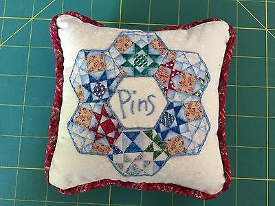 Patchwork,Pin CUSHION,13cm,Applique,Embroidery,piping,Ready to use,Sewing,Crafts