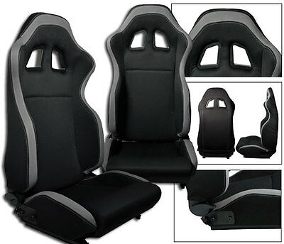 NEW 2 BLACK & GRAY CLOTH RACING SEATS RECLINABLE w/ SLIDERS FOR CHEVROLET *****