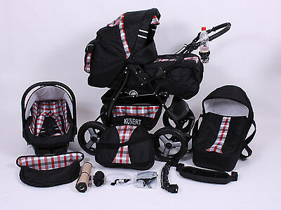 Kinderwagen Kombi Set 3 in1 Babyschale Buggy Pram Pushchair Poussette TÜV
