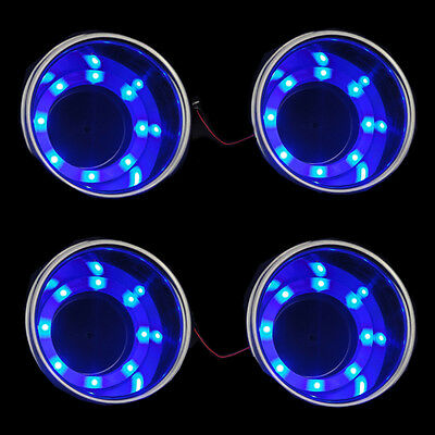 4XHot 8LED's Blue Stainless Steel Cup Drink Holder Marine Boat Car Truck Camper