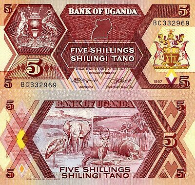 UGANDA 5 Shillings Banknote World Money Currency Africa Note p27 Bill Animals