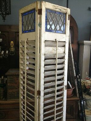 Old Wooden Shutters With Leaded Stained Glass