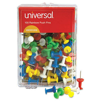Universal Colored Push Pins, Plastic, Rainbow, 3/8, 2 Packs of 100