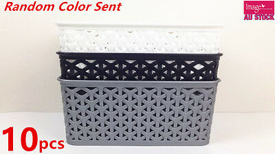 10Rectangle Plastic Storage Basket Wicker Pattern w Carry Holes WHITE 0169