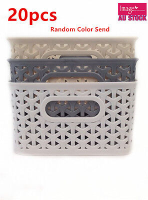 20 Rectangle MultiPurpose Plastic Storage Basket w Carry Holes Random Color 0169