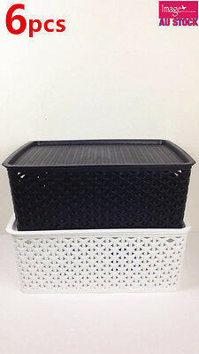 6x Rectangle Multi Purpose Basket Wicker Pattern With Lid Random Color BK0284