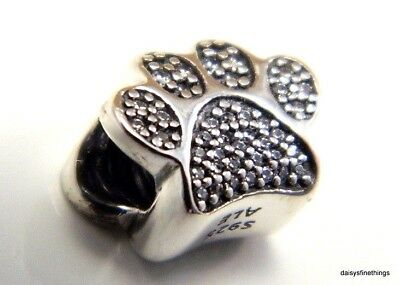 New/tags Authentic Pandora Silver Charm   Paw Prints #791714Cz