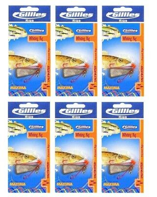 6 x Gillies Size 4 Pre-Tied Whiting Rigs with Chemically Sharpened Hooks